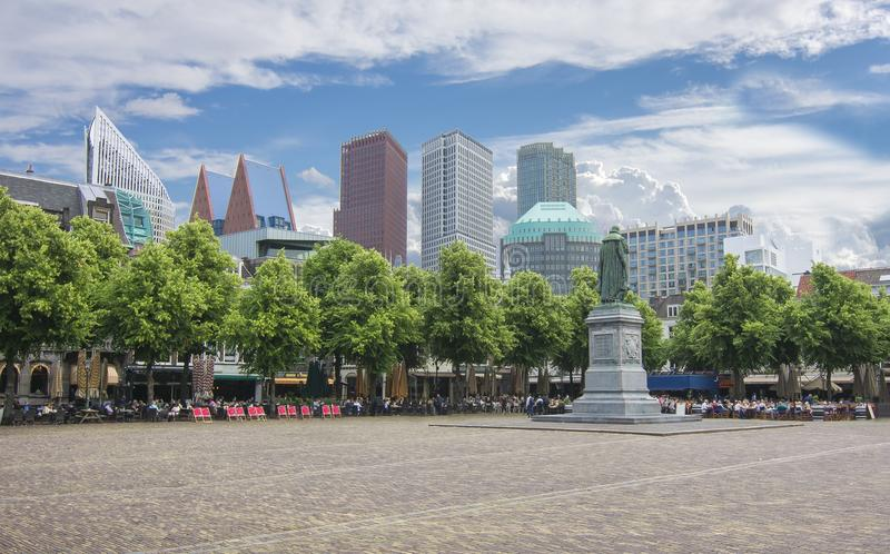 Central square Het Plein with statue of William the Silent, Hague, Netherlands royalty free stock image