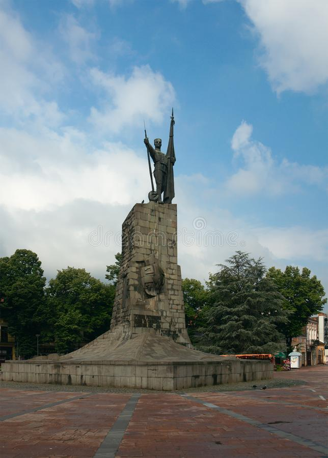 Central square of Kraljevo city with monument to the Serbian sol stock images