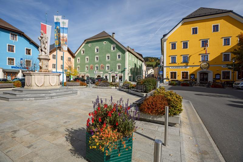 Central square of the market town of Tamsweg, Austria. Central square of the market town of Tamsweg, located within the Central Eastern Alps. Lungau region royalty free stock photo