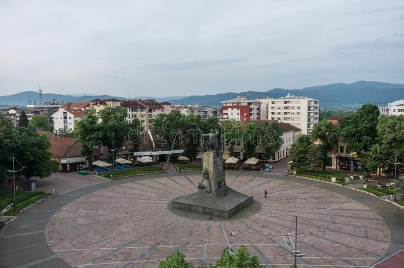 Central square with monument to a Serbian soldier. Kraljevo, Serbia. Kraljevo, Serbia - May 5, 2018: Central square with monument to a Serbian soldier. Kraljevo stock photography