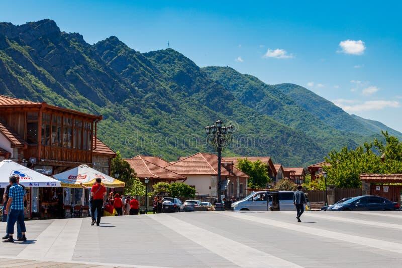 Central square of Mtskheta city stock image