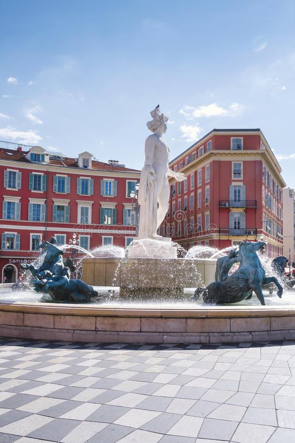 Nice, Provance, Alpes, Cote D`Azur, French,  August 15, 2018; Historic  Massena square in Nice with Appolo sculpture. Central square in Nice, Provance, Alpes stock photos