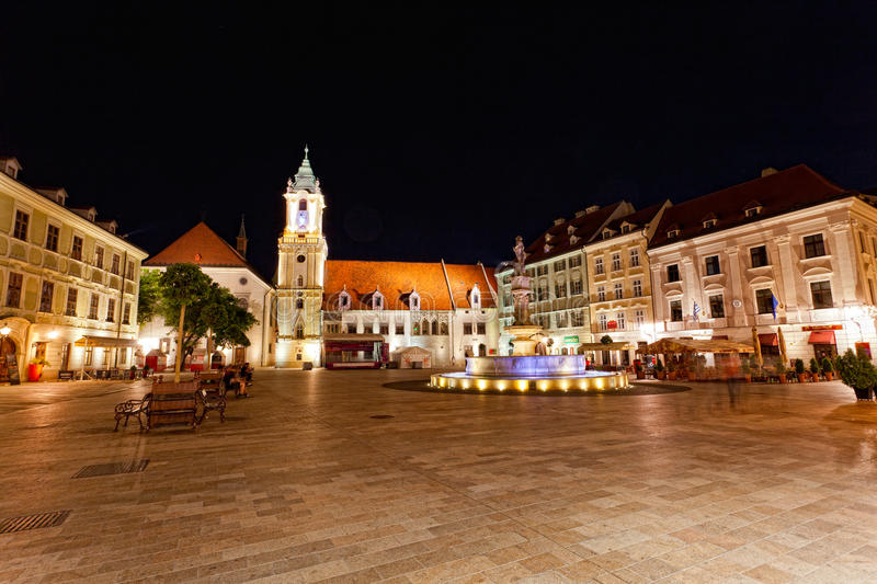 Central square at night in Bratislava, Slovakia. July 23, 2013. Bratislava is the most populous (462,000) and most visited city in Slovakia royalty free stock images