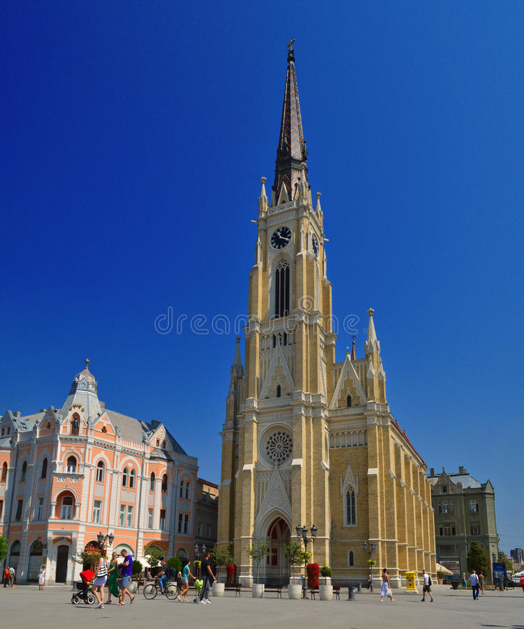 The Central Square in Novi Sad. Serbia or The Trg Slobode. Visible are traditional architecture, Parochial Roman Catholic Church of the name of Mary's stock photos