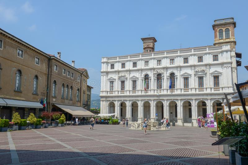 Central square of the old town at Bergamo on Italy stock image