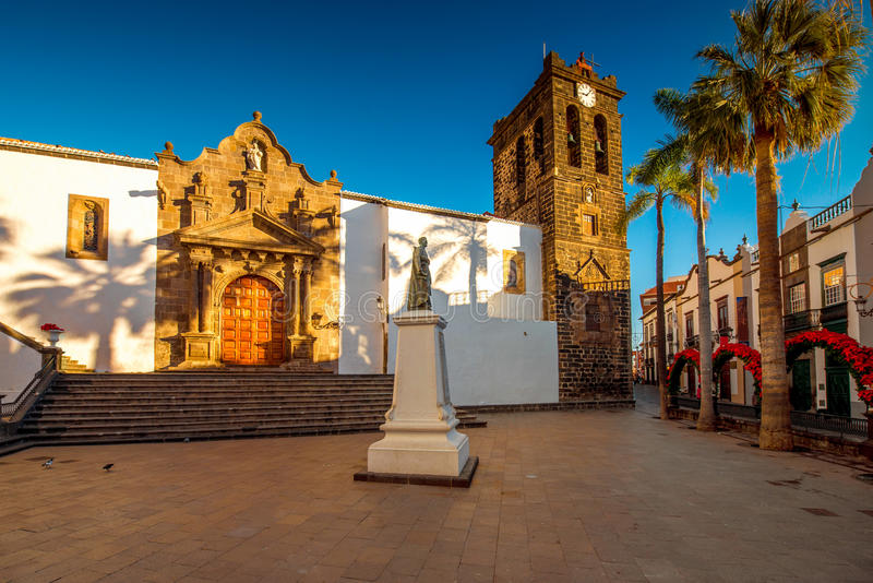 Central square in old town Santa Cruz de la Palma. Central square in old town with Salvador church and monument in Santa Cruz de la Palma in Spain royalty free stock photography