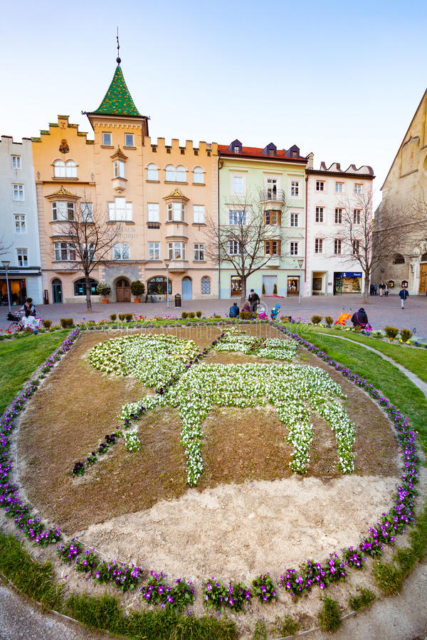 Central square in Ortisei, Italy. Ortisei is a town of 4,637 inhabitants in South Tyrol in northern Italy. It occupies the Val Gardena within the Dolomites, a royalty free stock photo