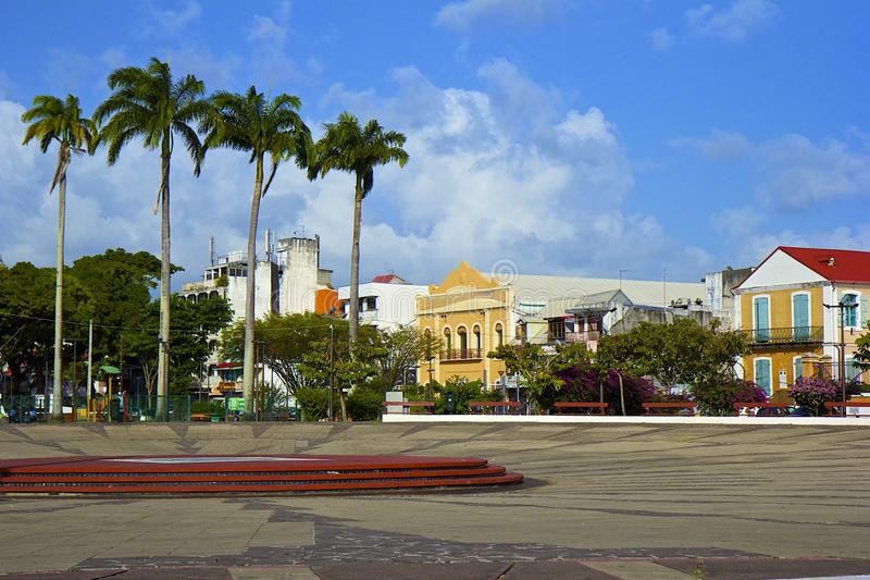 Central square in Point a Pitre, Guadeloupe, Caribbean. City of Point a Pitre in Guadeloupe- central square stock photography