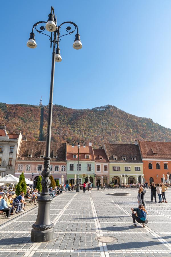 On the central square of the Romanian Brasov. One of the ten largest cities in Romania. Located in the heart of Romania, the city of Brasov is sometimes called stock photo