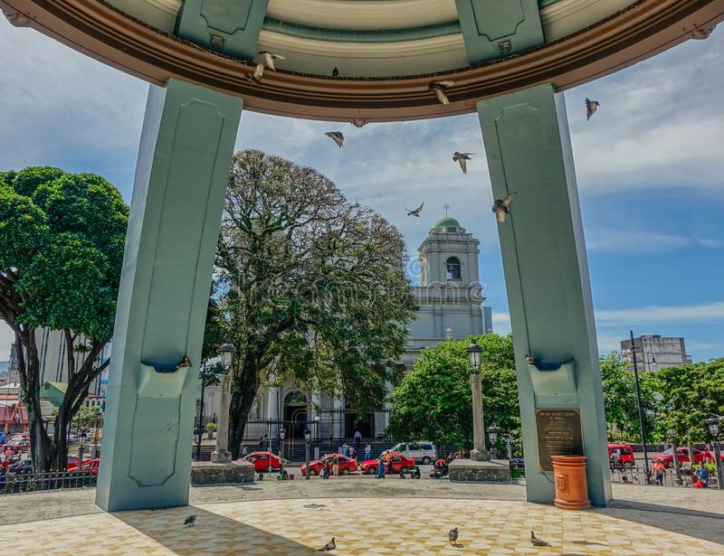 Central square in San Jose of Costa Rica. San Jose of Costa Rica City, Costa Rica, Central America - May 24, 2017: View of the Cathedral of Saint Joseph under royalty free stock photography