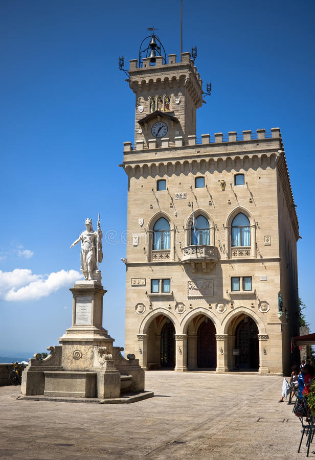 Central square of San Marino. Italy stock image