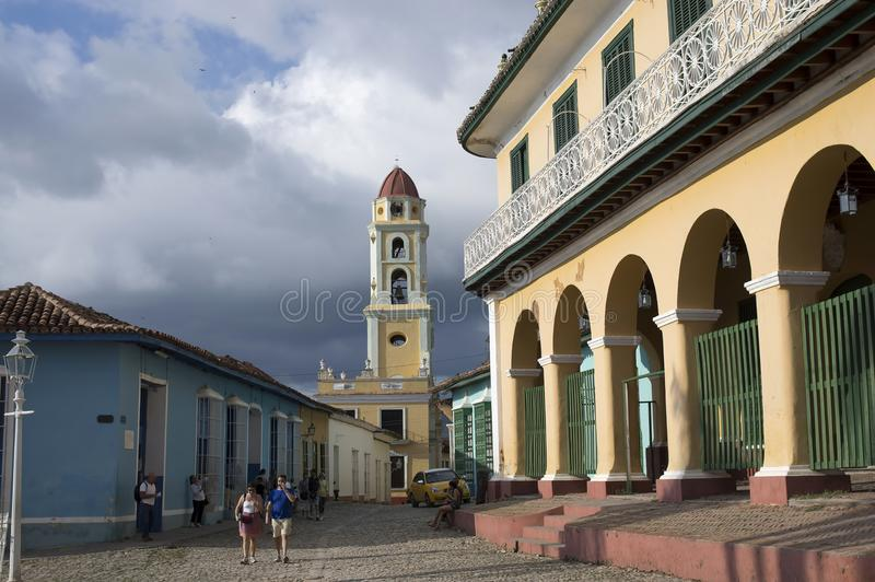 Central Square of Trinidad Cuba. 2018 January 03 royalty free stock photography