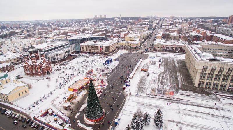 Central square of Tula at winter aerial view 05.01.2017 Russia royalty free stock photo