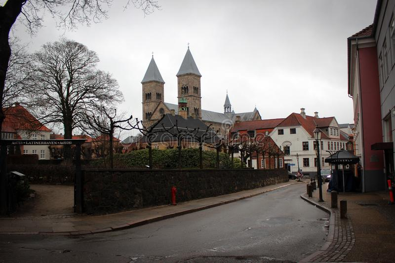 Central square in Viborg with monumental cathedral, Denmark. Central square in Viborg view with monumental cathedral by rainy spring, Denmark royalty free stock photography