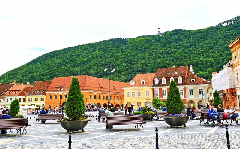 Central square view Brasov city Romania. A view of Central square of Brasov city Romania.An ornate churches, elaborately trimmed buildings and one of the finest royalty free stock photography