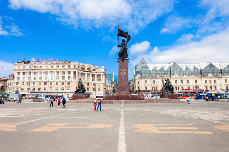 Central square in Vladivostok stock photography