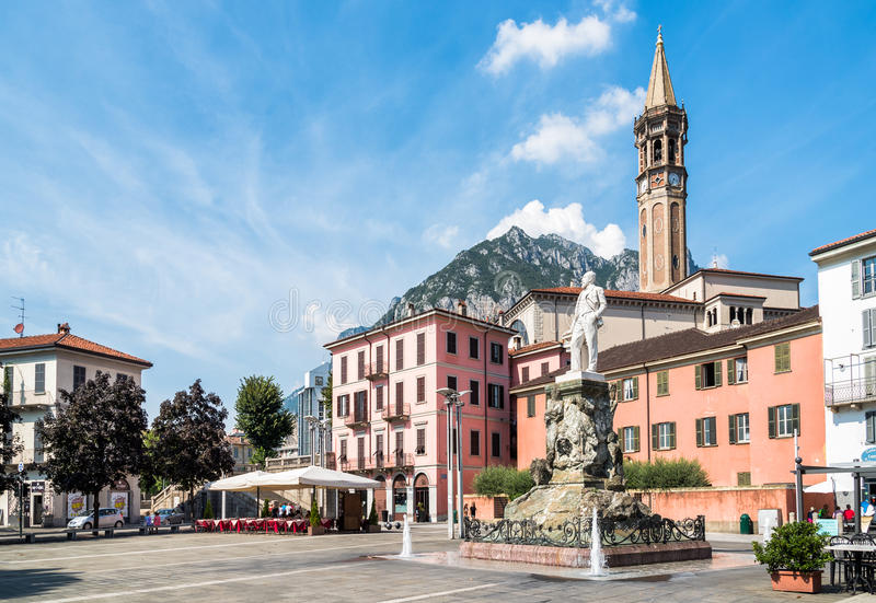 Central square XX Settembre of the center of Lecco, Italy stock photo