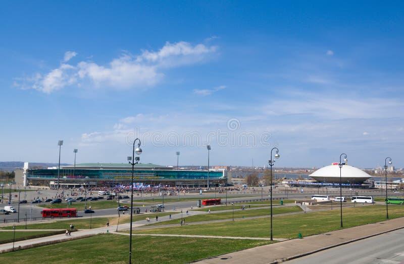 Central stadion- och Kazan tillståndscirkus i Kazan, Ryssland royaltyfri fotografi