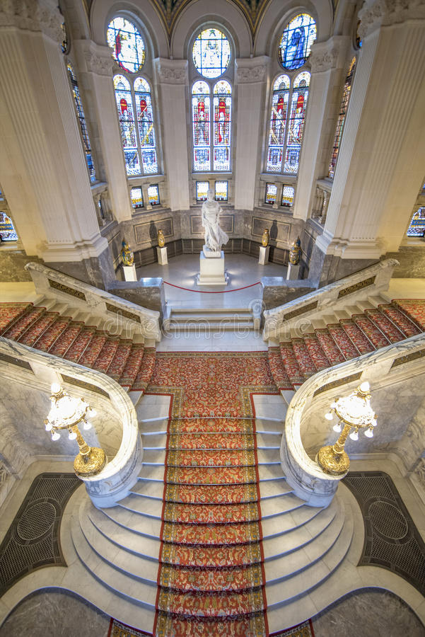 Central staircase of the Peace Palace. Seat of the International Court of Justice, built by the international donation started by Andrew Carnegie, the American royalty free stock images