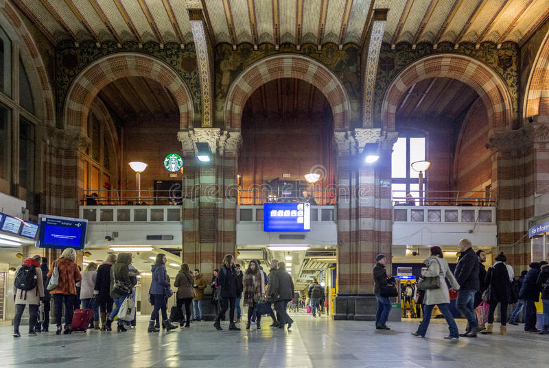 Central Station on February 07, 2015 in Amsterdam. stock photo