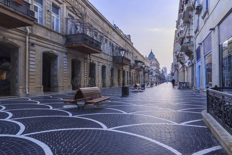 Central street in Baku early in the morning.Azerbaijan. Travel royalty free stock photos