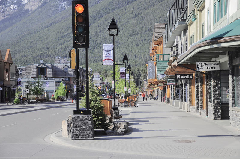 Central street of Banff. stock photo