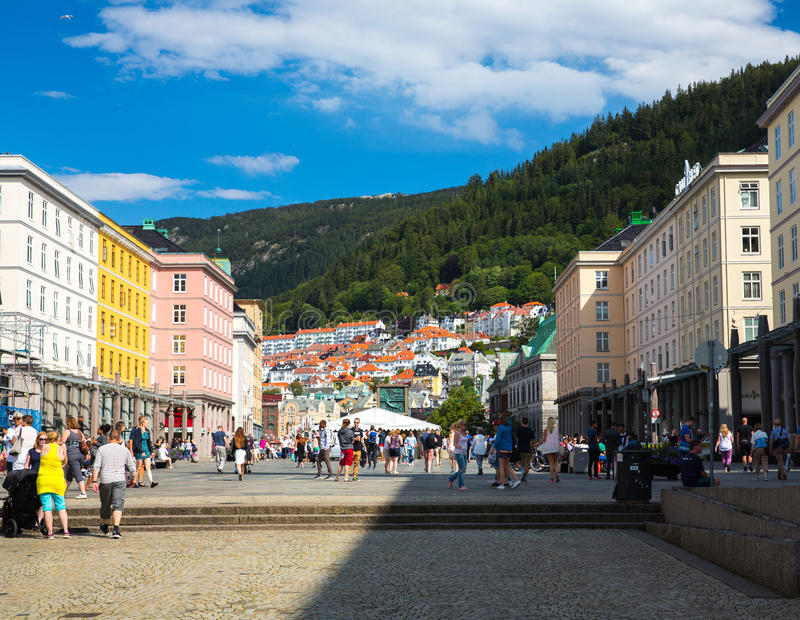 The central street in Bergen. Norway stock images