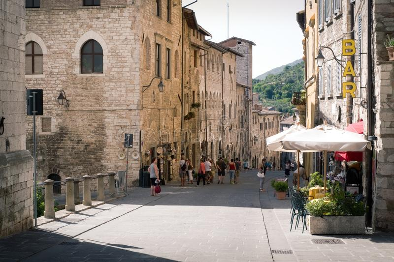 Central street of the city of Gubbio, Italy royalty free stock photos