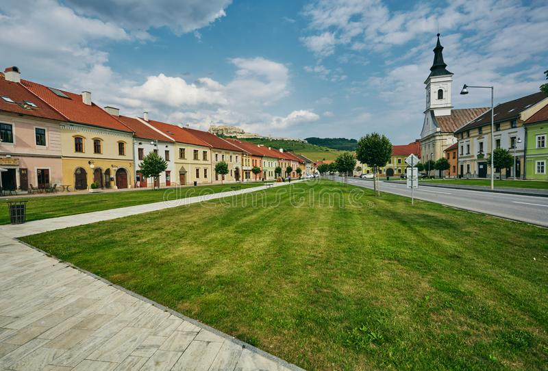 The central street of the city Spisske Podhradie, Slovakia, Europe. Spisske Podhradie, Slovakia, Europe. The central street of the city on the background of the stock image