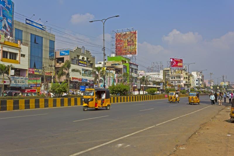 Central street in Guntur. JANUARY 28, 2015, GUNTUR , ANDHRA PRADESH, INDIA - Abdul Kalam Azad road in the central part of Guntur stock images