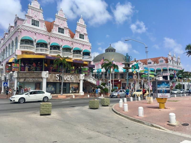 Central street in Oranjestad, Aruba. Central street in Oranjestad, popular vacation and cruise destination island of Aruba. Aruba is an island and a constituent stock photos