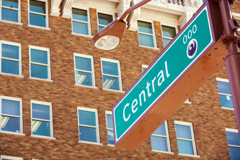 Central Street sign in Phoenix. Arizona royalty free stock images