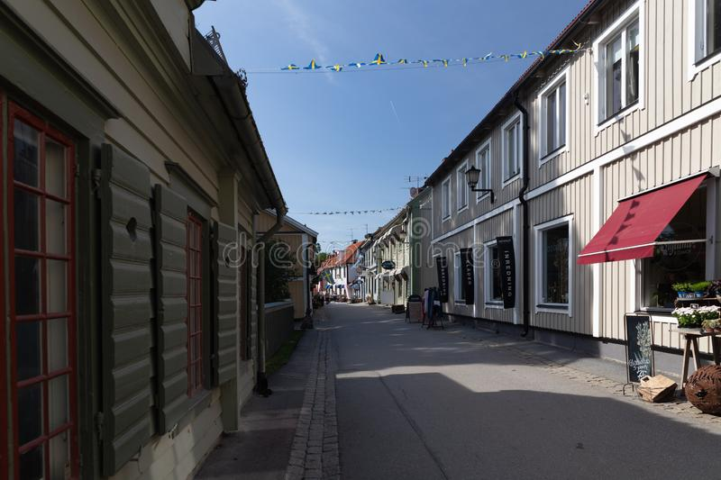 Central Street. Sigtuna. Sweden 08.2019. Central Street in city Sigtuna stock photography