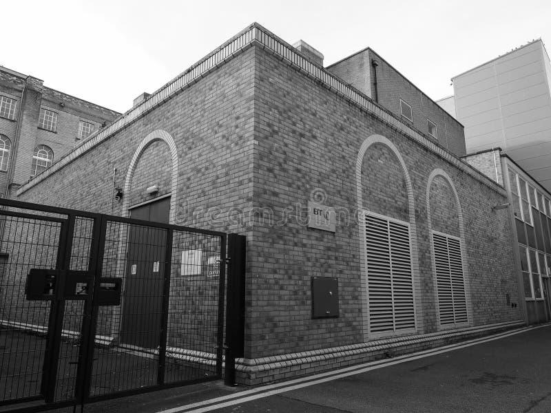 Central téléphonique central de BT à Cambridge en noir et blanc photo stock