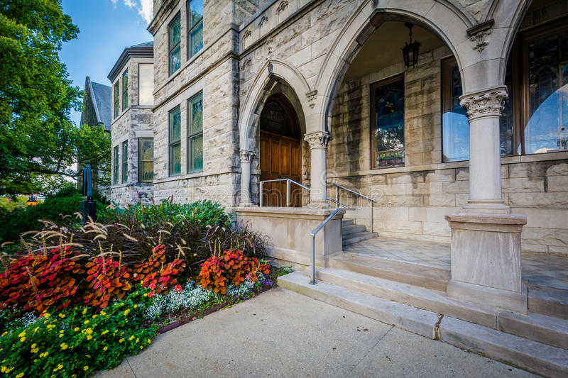 Central United Methodist Church, in downtown Asheville, North Ca. Rolina stock image