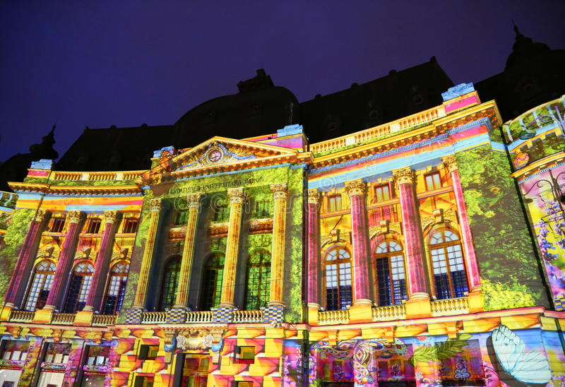 Central University Library of Bucharest decorated with colorful lights stock photo