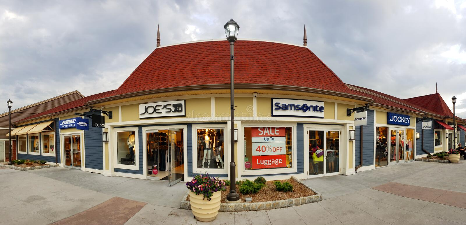 Store panorama in Woodbury Common Premium Outlet mall stock images