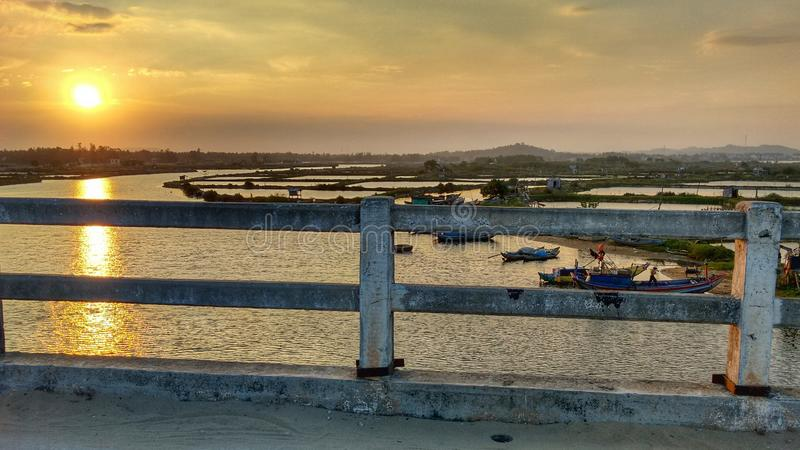 Central Vietnam - Beautiful Sunset seen from a Bridge royalty free stock image