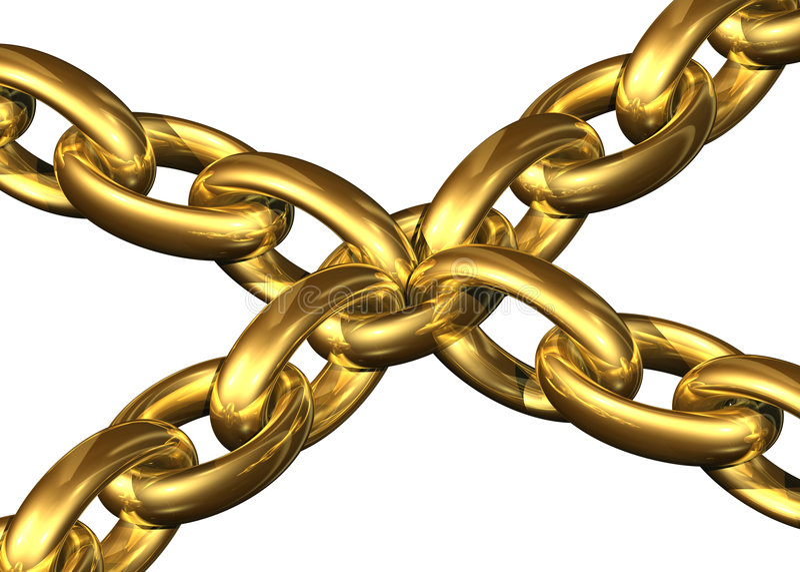 centrala łańcuch elementy do złotego utrzymującego toghether ilustracji