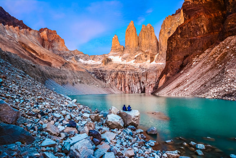 Centrala c Chile De Del norte nido góry ndor paine park narodowy patagonii sur peaks torre torres widocznych fotografia royalty free
