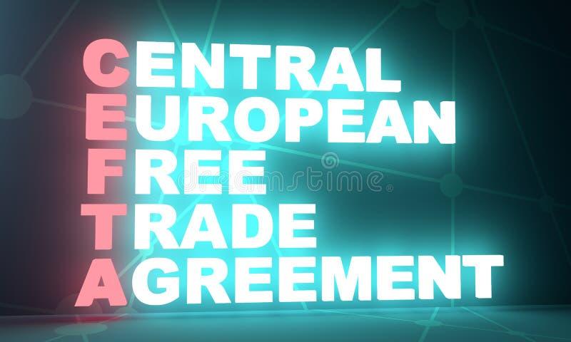 Centrala - europejski umowa o wolnym handlu akronim ilustracja wektor