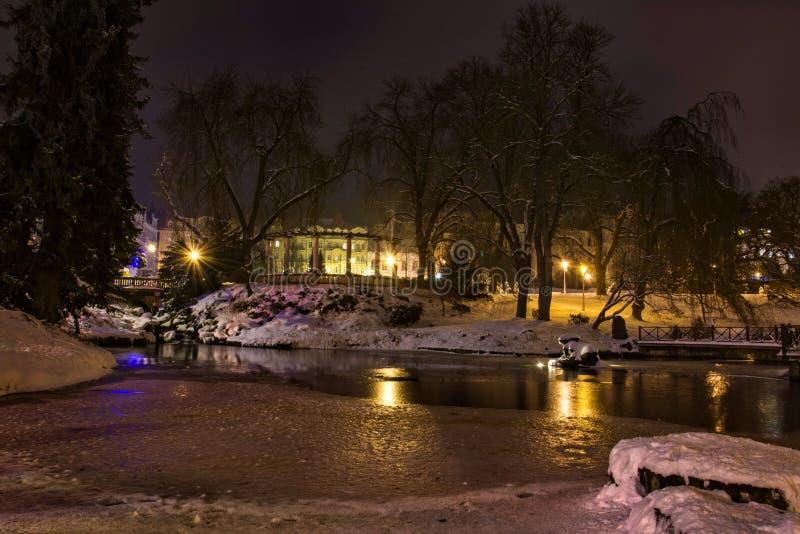 Centrala park przy nocą republika czech - Marianske Lazne Marienbad - zdjęcie stock