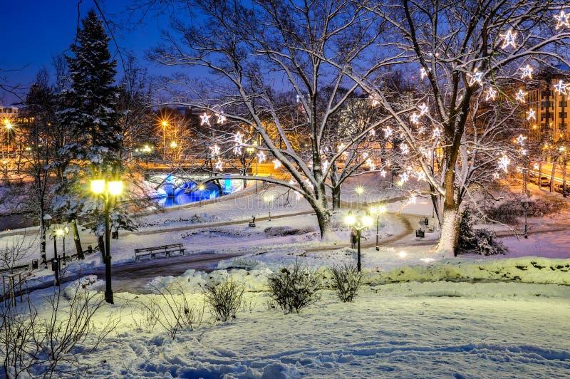 Centrala park w Ryskim dekorującym dla bożych narodzeń i nowego roku świętowania fotografia stock