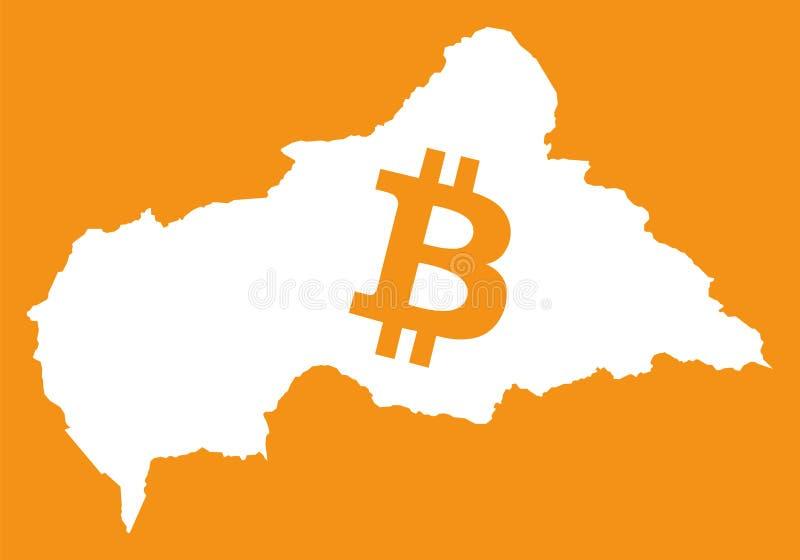 Centralafrikanska republiken översikt med crypto valutasymbol för bitcoin royaltyfri illustrationer