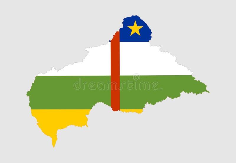 Centralafrikanska republiken översikt och flagga över översikt royaltyfri illustrationer