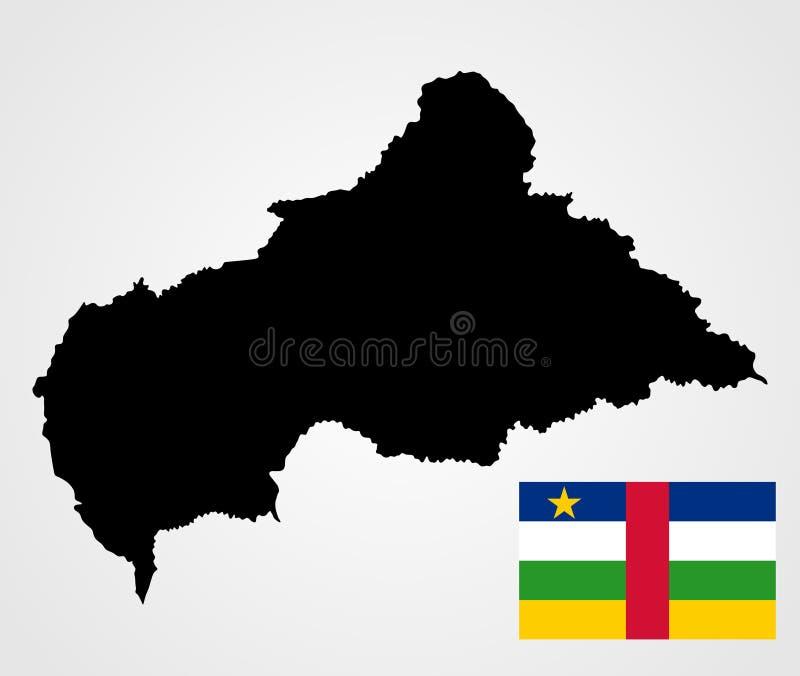 Centralafrikanska republiken översikt och flagga royaltyfri illustrationer