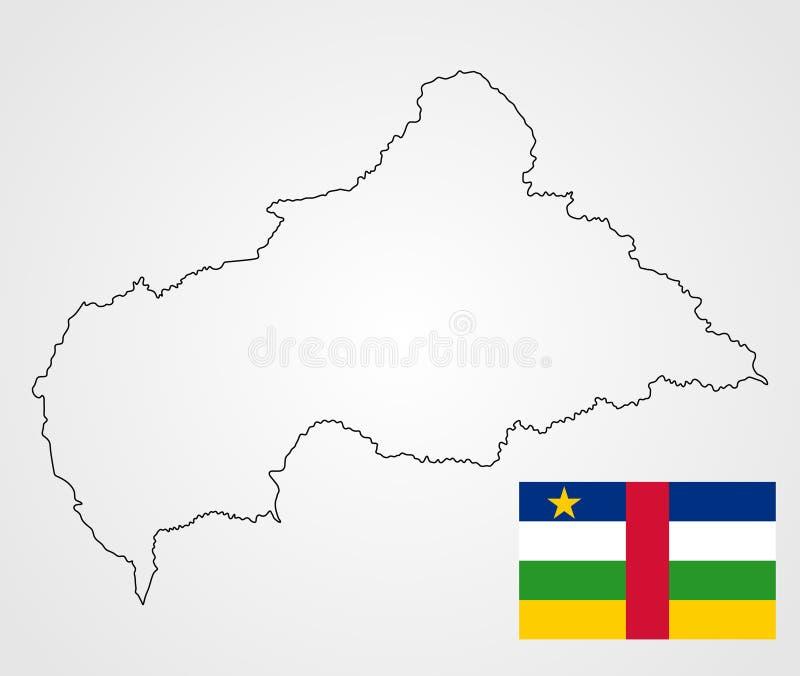 Centralafrikanska republiken översiktskontur och flagga stock illustrationer