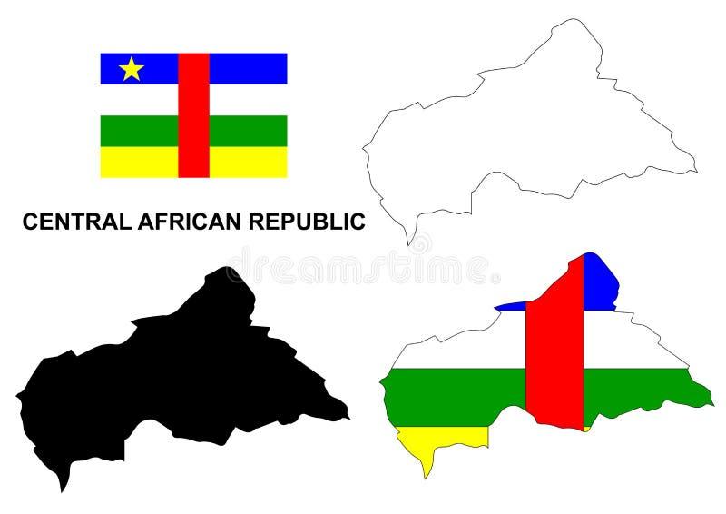 Centralafrikanska republiken översiktsvektor, Centralafrikanska republiken flaggavektor, isolerade Centralafrikanska republiken stock illustrationer