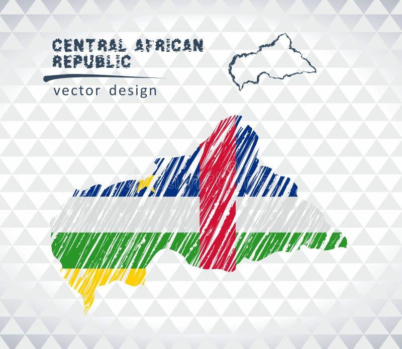 Centralafrikanska republiken vektoröversikt med flaggainsidan som isoleras på en vit bakgrund Skissa drog illustrationen för krit vektor illustrationer