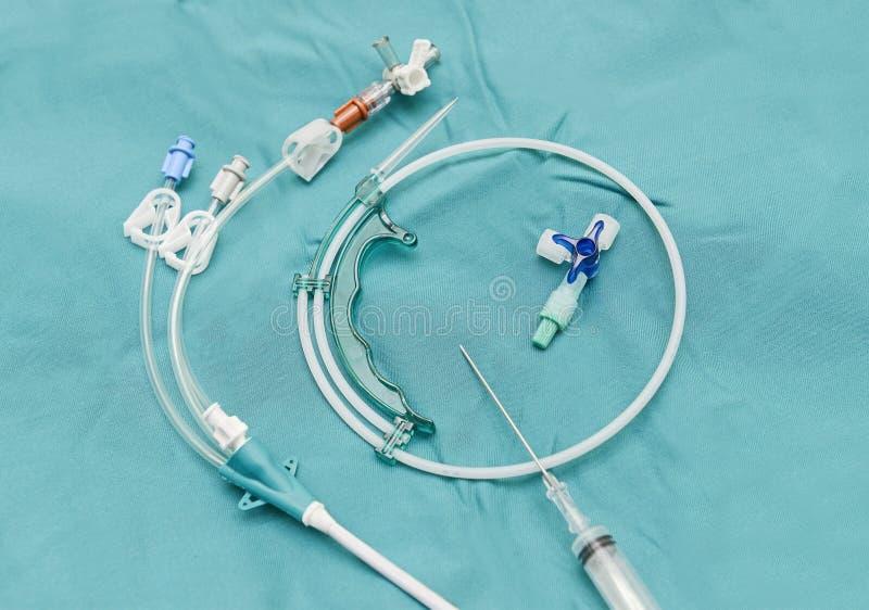 Centrale aderlijke catheterintroductionreeks stock afbeeldingen